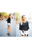 white PERSUNMALL shorts - black H&M sunglasses - black Bershka blouse