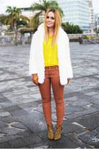 brown Zara boots - white Rosewholesale coat - tawny Zara pants