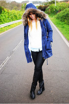 black Bershka boots - navy suiteblanco jacket - white Lefties sweater