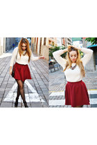 crimson Stradivarius skirt - white Lefties sweater - crimson Zara necklace