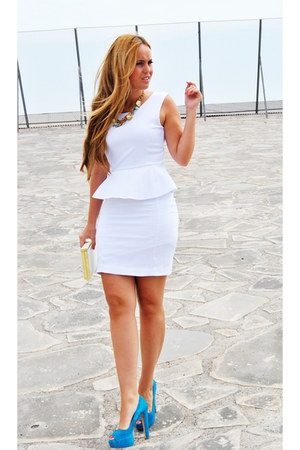white Uterqe dress - sky blue Zara heels