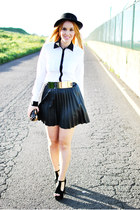 black el corte ingles hat - black Pull & Bear bag - black suiteblanco belt