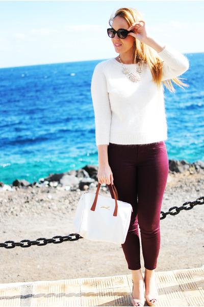 white Teria Yabar necklace - white Massimo Dutti sweater