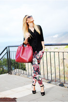 black Mister Spex sunglasses - ruby red Zara bag - black Bershka blouse