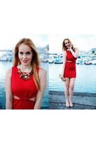 ruby red inlovewithfashion dress - ruby red Teria Yabar necklace