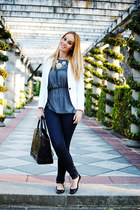 white Zara blazer - navy suiteblanco jeans - black Zara bag