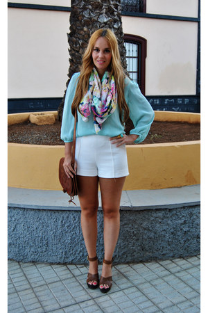 bubble gum H&M scarf - white Zara shorts - light blue Massimo Dutti blouse