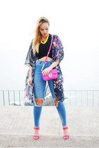 hot pink Michael Kors bag - navy Bershka jeans - yellow Zara necklace