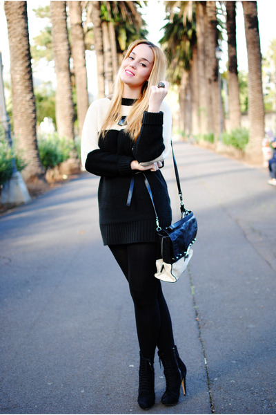 black Bershka boots - black nowIStyle sweater - black karen millen bag