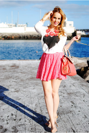 white Mango shirt - coral Teria Yabar bag - bubble gum inlovewithfashion skirt