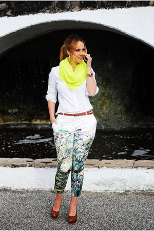 yellow nowIStyle scarf - white Zara blouse - chartreuse H&M Conscious pants