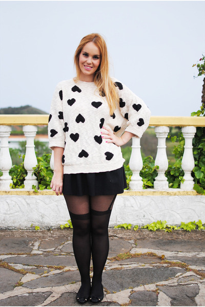 black Zara sweater - black Lenceria-sexy tights - black nowIStyle skirt
