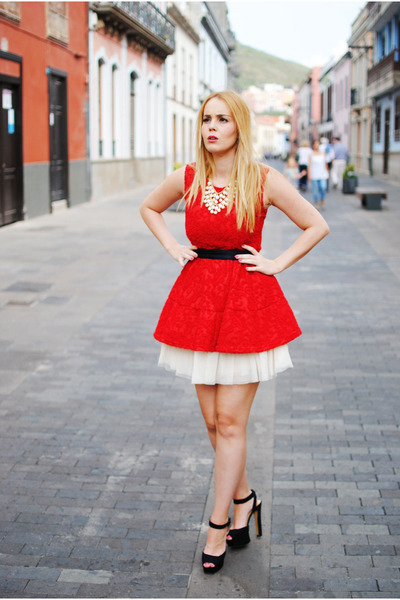 ruby red tideshe dress - black Zara shoes - white Naf Naf skirt