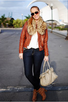 white nowIStyle blouse - navy suiteblanco jeans - bronze Massimo Dutti jacket