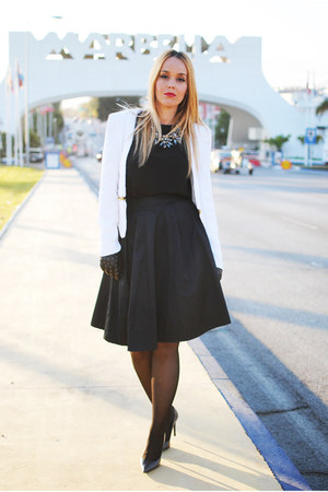 black Zara blouse - white tideshe blazer - black nowIStyle skirt