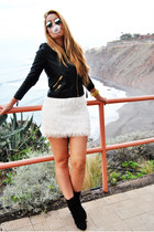 white H&M skirt - black Bershka boots - black Mango jacket