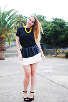 black Chicwish skirt - black Zara heels - yellow Zara necklace