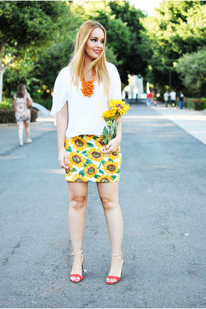 orange Zara sandals - white Zara blouse - orange Zara necklace