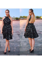 black Maria Martin dress - black Zara shoes - black Bershka bag