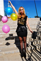 black Lefties skirt - black Lefties t-shirt - black Zara heels