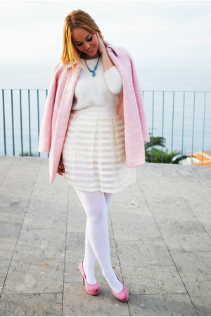 ivory sammydress skirt - bubble gum Plaza Chueca shoes - bubble gum Zara coat