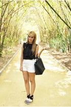 black Zara bag - white Zara shoes - white Zara shorts - black Uterque blouse