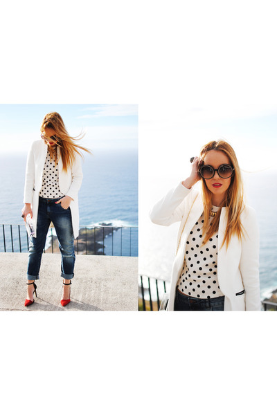 black Zara coat - navy Zara jeans - white nowIStyle shirt - white Zara purse