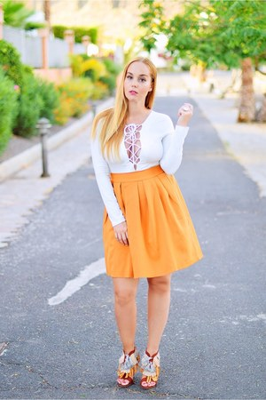 light orange CNdirect skirt - white Choies bodysuit - light orange Zara heels