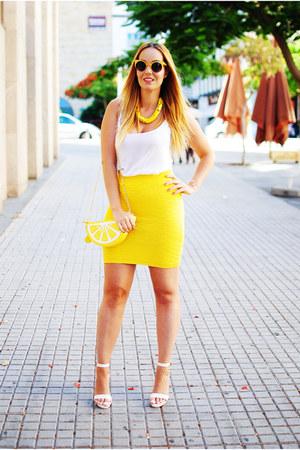 white Bershka shirt - yellow JollyChic bag - yellow zeroUV sunglasses