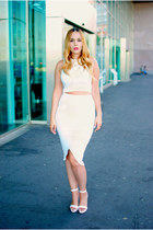 white AX Paris skirt - white VESSOS sandals - white AX Paris top