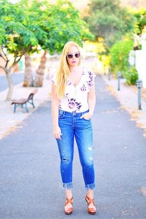 pink Primark bodysuit - navy Zara jeans - pink opticalh Fendi sunglasses