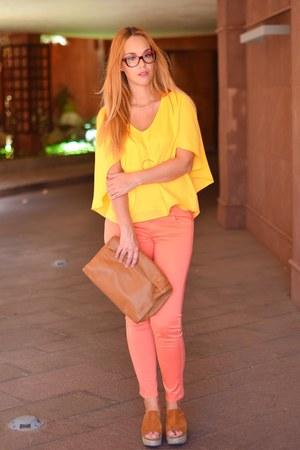 orange Massimo Dutti pants - light orange Zara bag - yellow suiteblanco blouse