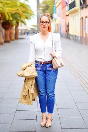 tan Mango shoes - blue Zara jeans - beige Carolina Herrera bag
