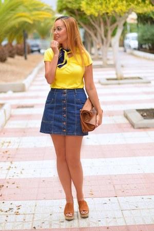 tawny Zara bag - yellow Stradivarius shirt - tawny Zara heels