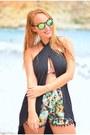 Green-newdress-shorts-chartreuse-shadoow-sunglasses-black-newdress-top