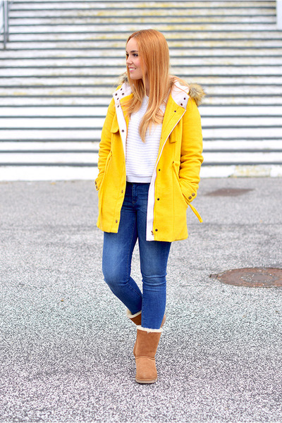 brown Ugg boots - yellow blackfive coat - navy Zara jeans - white Mango sweater