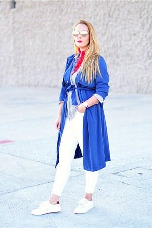 red Benatty watch - blue Choies coat - white Mango jeans