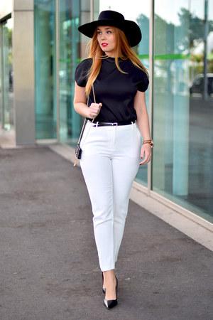black H&M hat - white Mango pants - black Zara blouse