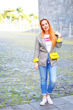 yellow Bershka blazer - sky blue Levis jeans - yellow Zara bag