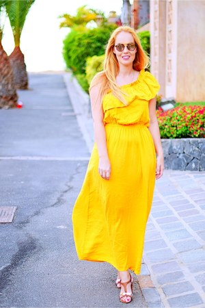 gold Primark dress - orange opticalh ray-ban sunglasses