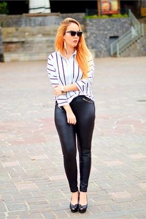 black dior sunglasses - ivory sammydress blouse - black Quiz pants