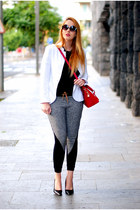 black Freyrs glasses - white Zara blazer - ruby red blackfive bag