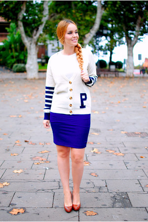 navy Poppy Lux cardigan - brown Zara shoes - navy OASAP skirt