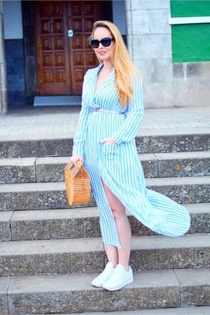 blue Chanel sunglasses - sky blue lightinthebox dress - white Reebok sneakers