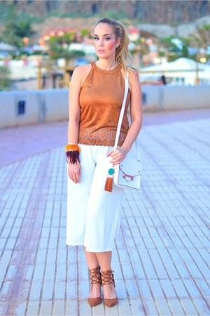 bronze Yoins top - bronze AmiClubWear sandals - white Wholesale7 pants