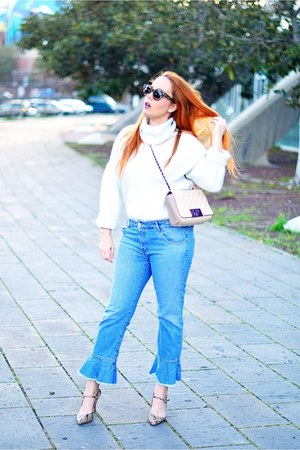 white Pimkie sweater - sky blue Zara jeans - tan Carolina Herrera bag