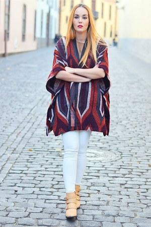 off white Mango jeans - camel AmiClubWear boots - light brown Mango shirt