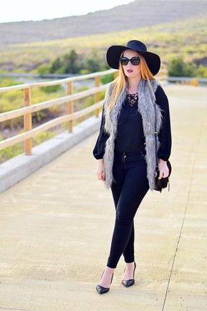 black H&M hat - black Zara bag - black optical h Chanel sunglasses