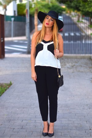 black H&M hat - black Lymont bag - black Mango pants - black Zara heels
