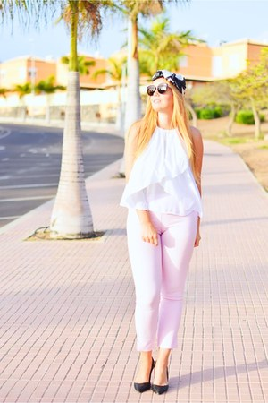 pink optical h dior sunglasses - white Mango blouse - pink Mango pants